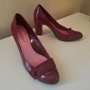 Block Heel Shiny Red Heels Size 7.5